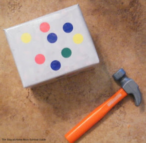 DIY learning activity for toddlers to learn colors or letters. This one uses banging!