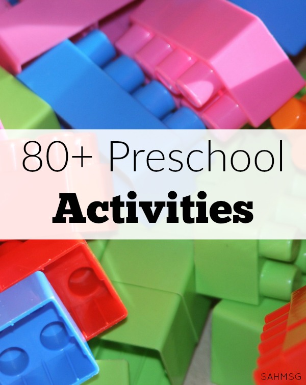 Over 80 simple learning activities for preschool age kids to explore and play while learning.