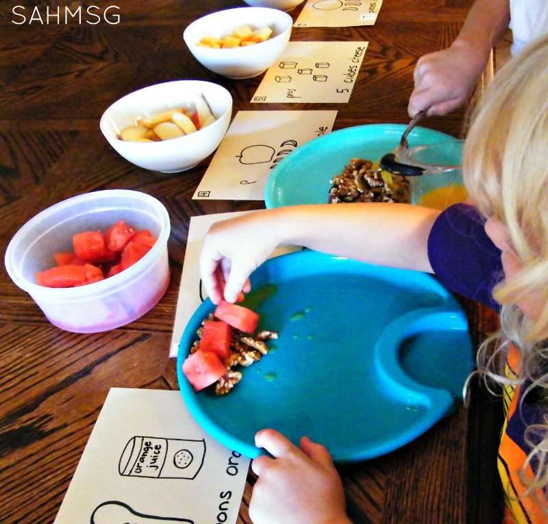 Kids make number salad with easy to read and count recipe cards-great counting activity for kids!