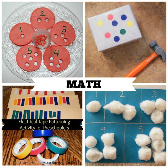 Activities for Preschool that teach math skills. These are great preschool activities for at home learning.