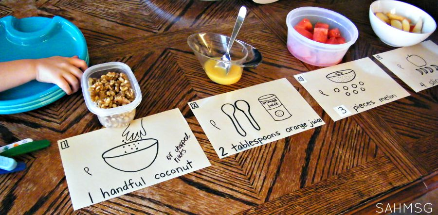 Set up for making Number Salad counting activity AND healthy snack for kids!