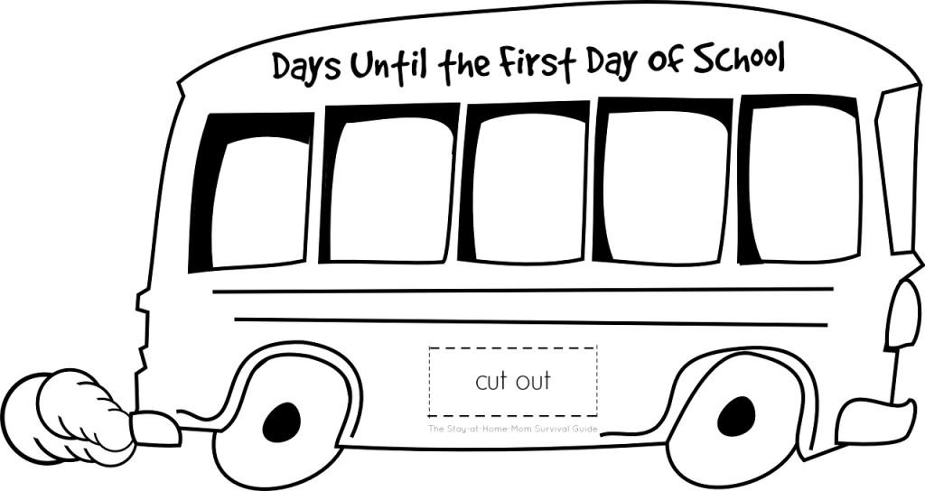 Free printable bus template for creating a back to school countdown to the first day of the new school year for kids.