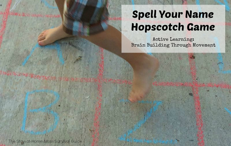 Gross motor activity and spelling game for preschool learning.