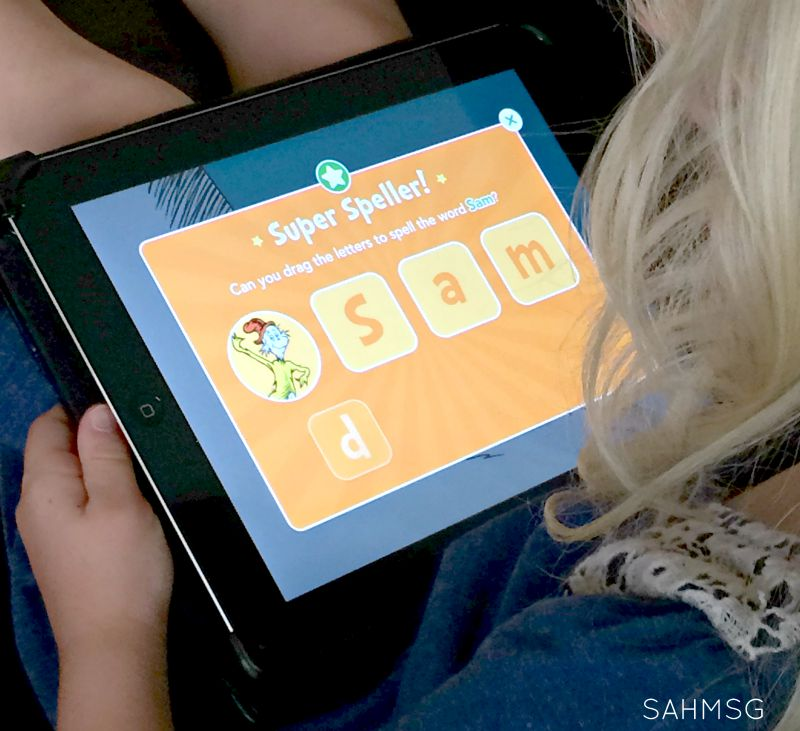 iPad time is earned in our house, but educational games like the Dr Seuss apps are great learning fun.