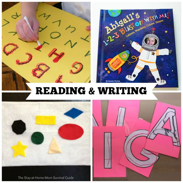 Activities for Preschool that teach reading and writing skills. These are great preschool activities for at home learning.