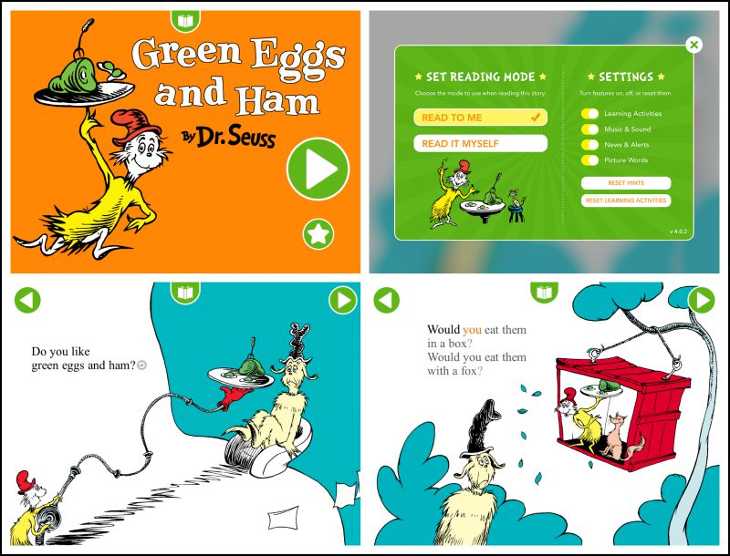 Dr Seuss books are now apps! We use them as extension activitiies for our preschool homeschool curriculum.