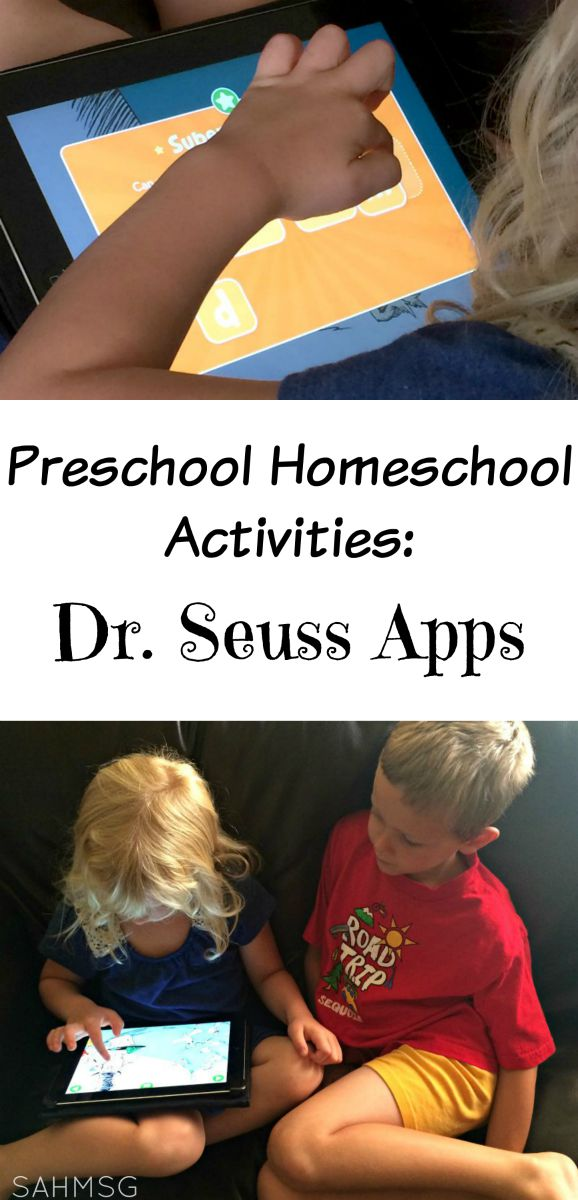 Activities for Homeschooling Preschool: Dr Seuss Apps are a great way to use technology for learning in a homeschool preschool curriculum.
