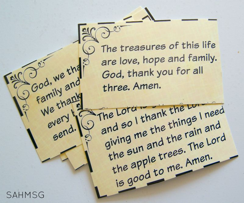 Free printable grace cards to help teach children how to say grace, pray, and be thankful. Free download for newsletter subscribers of The Stay-at-Home Mom Survival Guide.