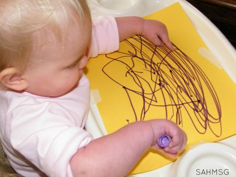 Simple invitation to draw for a toddler. Plus 5 simple writing activities for toddlers.