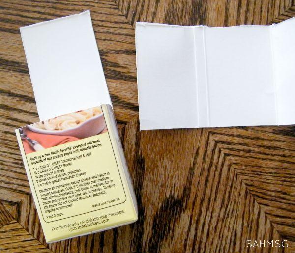 DIY photo blocks made from quart-sized milk cartons.