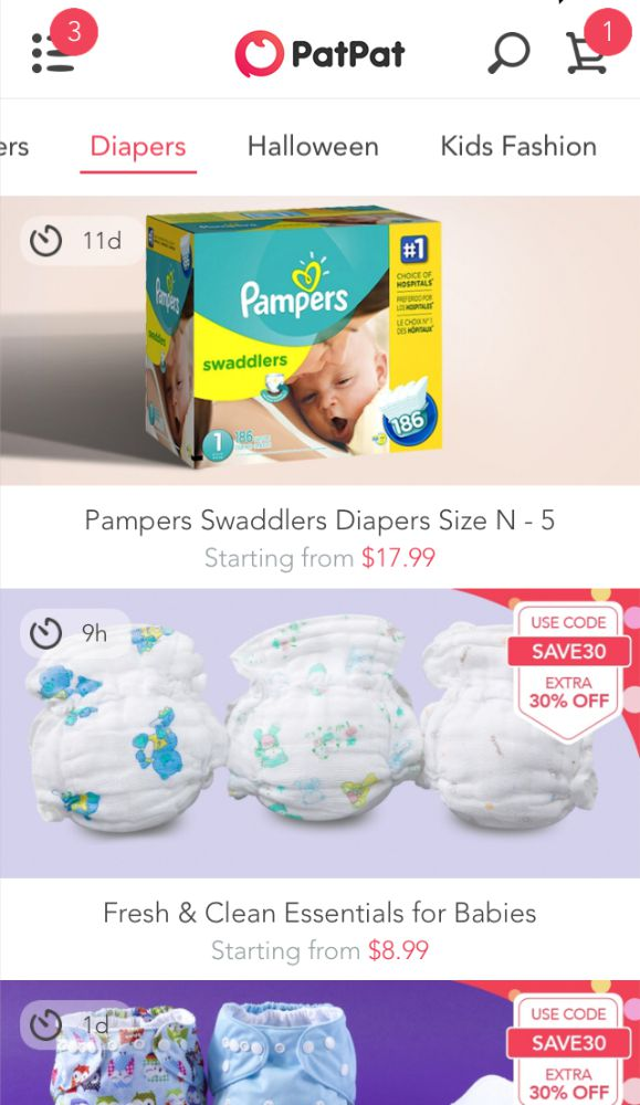 Get super savings on diapers, cute baby clothes, kids clothing, cloth diapers and more with PatPat Shopping App for moms and babies.