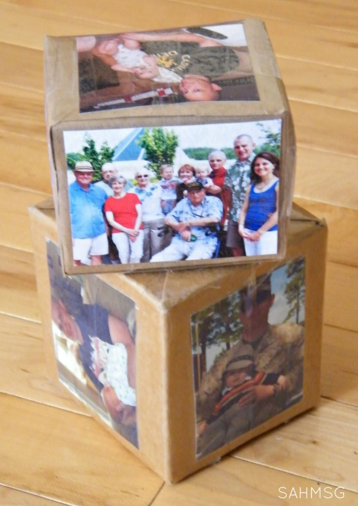 DIY Photo Blocks made from milk cartons-a fun DIY building block toy for infants and toddlers.