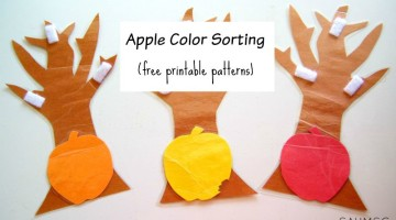 Apple and tree color sorting activity for toddlers.
