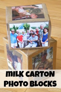 Make your own photo blocks from a milk carton. These are fun building blocks for kids personalized with family pictures.