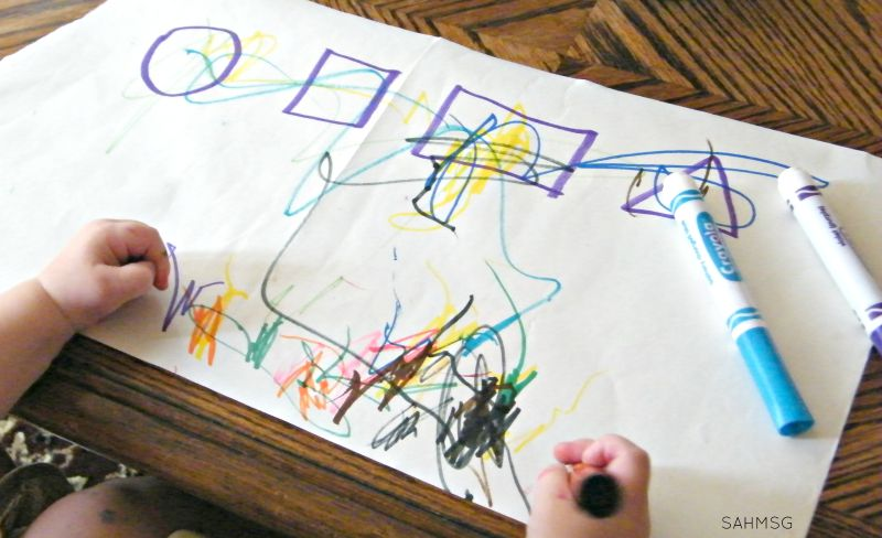 Teach toddlers their shapes with this simple activity that teaches pre-writing skills.