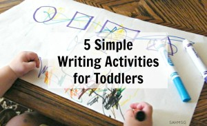 Easy to set up activities for toddlers that encourage writing skills and learning basic concepts like shapes, numbers and spelling their name.