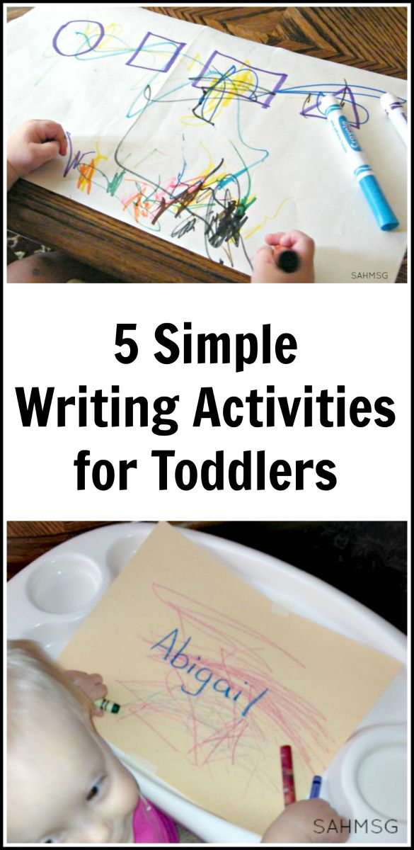 5 simple activities for toddlers that encourage writing. These are simple to set up and use basic supplies.