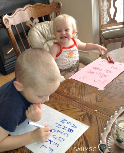 Try this simple writing center that works for preschoolers and toddlers. It teaches pre-writing skills and basic concepts and works great as an activity during dinner prep time.