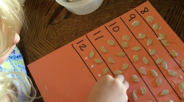 Counting Practice and Number Recognition with Pumpkin Seeds