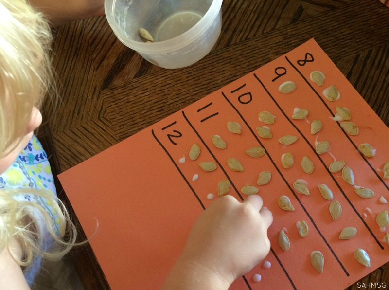 Counting and gluing pumpkin seeds-fine motor, number recognition, gluing practice. Essential skills for preschool in a pumpkin and Fall theme.