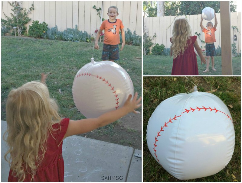 A beach ball punching bag or tether ball makes a great backyard outdoor activity for kids so they can FuelUptoPlay60 every day and stay healthy with @RealCalifMilk. [AD]