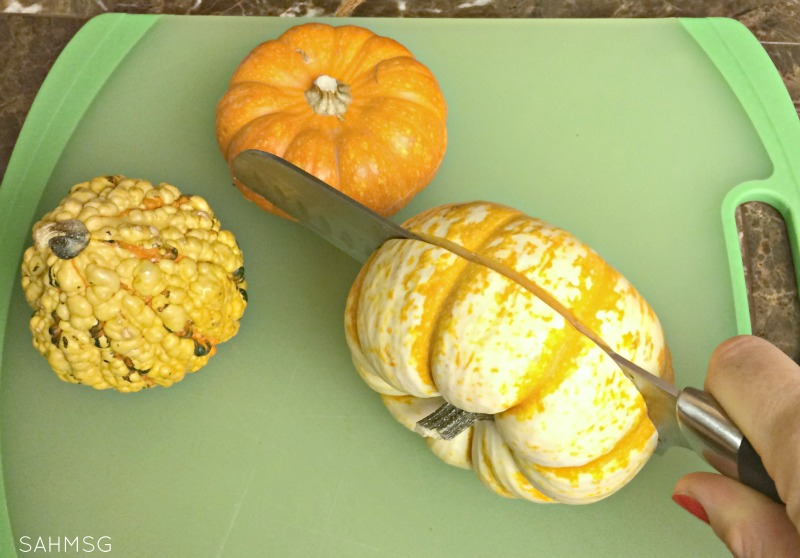 Puzzles made from real pumpkins for Fall preschool activities.