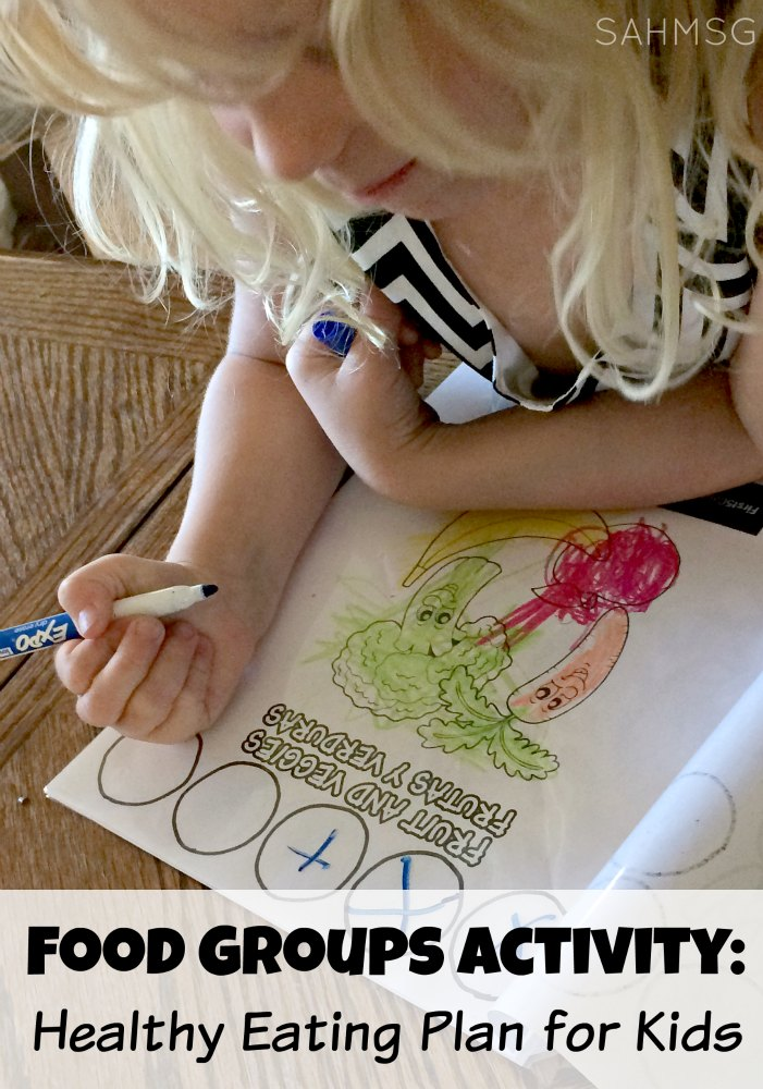 Teach children about the food groups and healthy eating habits with this food groups chart idea. Free printable coloring sheets make this easy to create!
