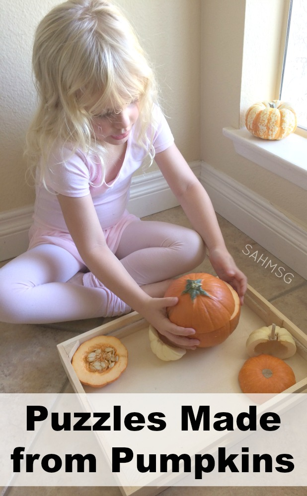 Puzzles made from real pumpkins-a fun, natural Fall preschool activities.