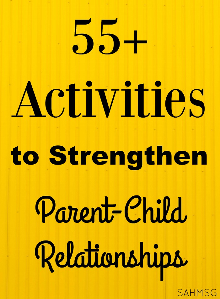 Need some ideas for one-on-one time with your child? We have 55+ ideas shared to help strengthen your parent child relationship. These are inexpensive activities for kids to do with parents.