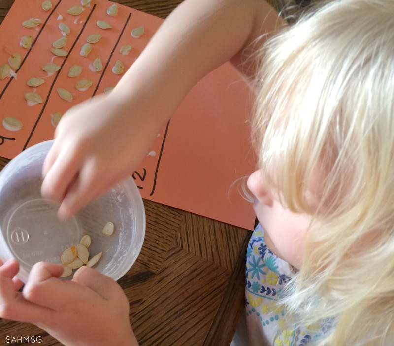 A fine motor acticity using pumpkin seeds for practicing counting and number recognition skills in preschoolers.