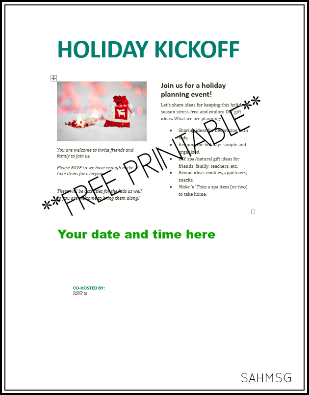 Free printable invitation for a holiday kickoff make n take playdate. Moms can make spa and home items with essential oils and the kids can play. HOw to ideas included.