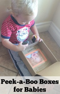 Super simple DIY toy for babies using a wipes container or small cardboard box.