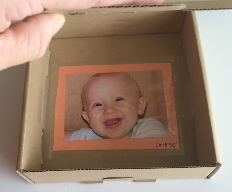 Peek-a-Boo Box DIY toy for infants.
