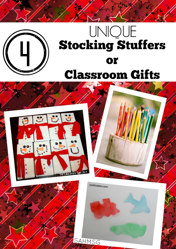 Stocking Stuffers OR Classroom Gift Ideas. These 4 ideas are unique DIY gifts that would make great gifts for a child's class or unique stocking stuffers for kids.