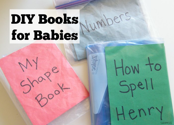 DIY books for babies and toddlers that use an item you may already have in your kitchen! Clever books to encourage a love of reading in babies and toddlers with personalized books that are easy to make.