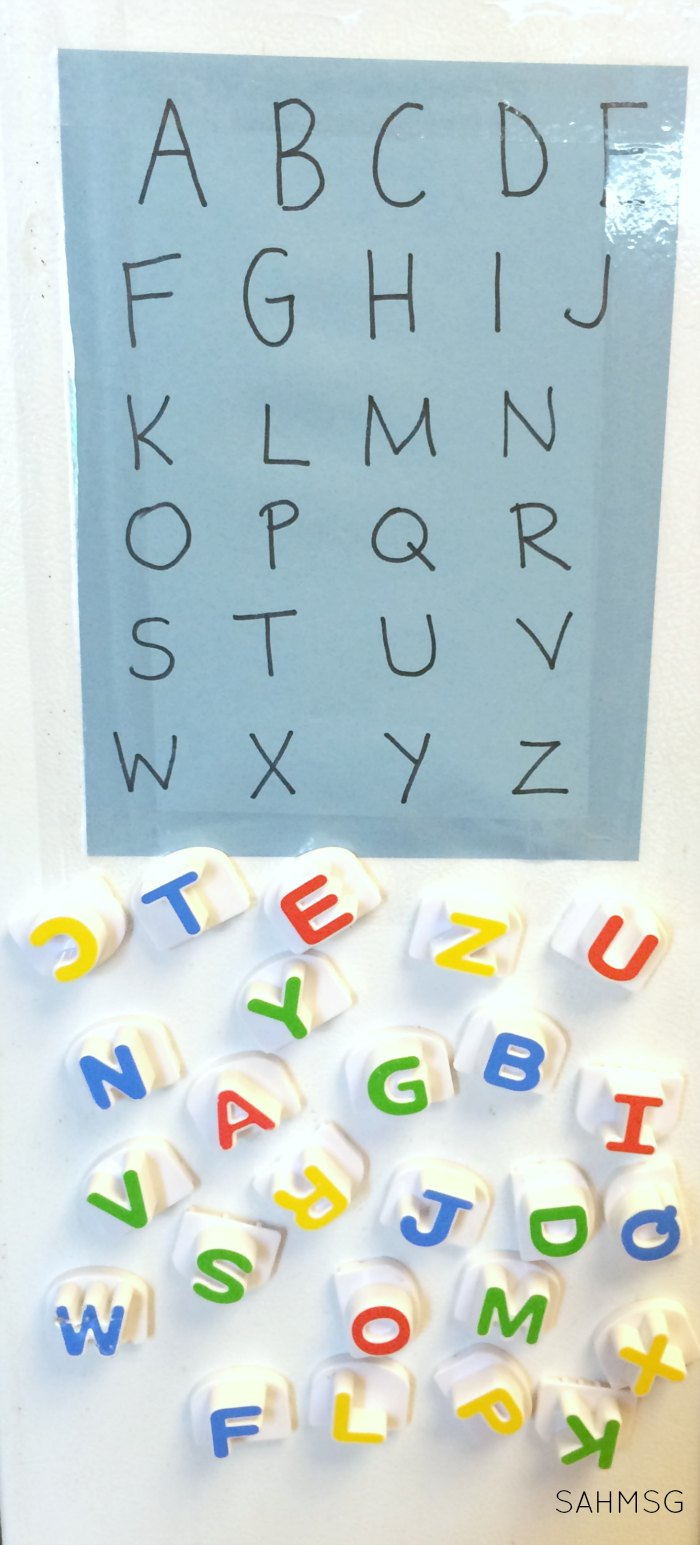 Preschool letter matching activity for the front of the fridge-use magnetic letters and construction paper to create 2 preschool letter matching activities to increase literacy skills in preschool children.
