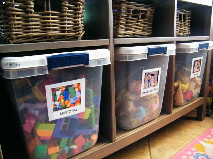 Toy storage idea, tips for organizing household paperwork and also toy brick building set manuals all in Get a More Organized House with Kids.
