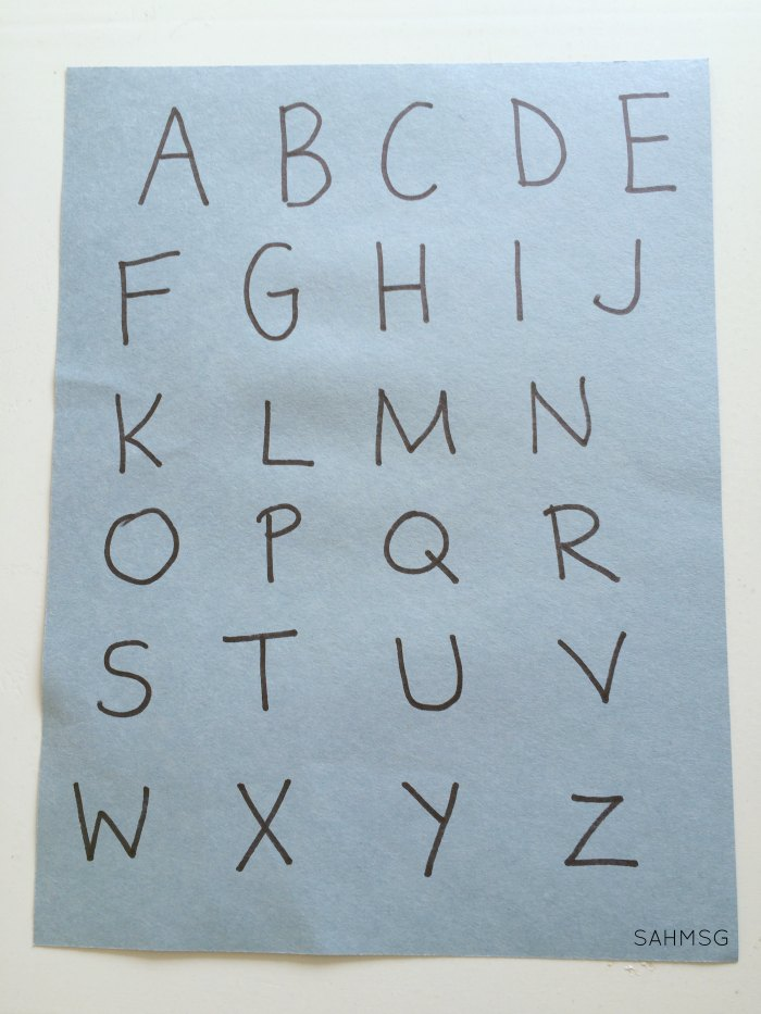 Create a preschool activity for learning the alphabet that sticks to the fridge. Use alphabet letter magnets for a matching activity.