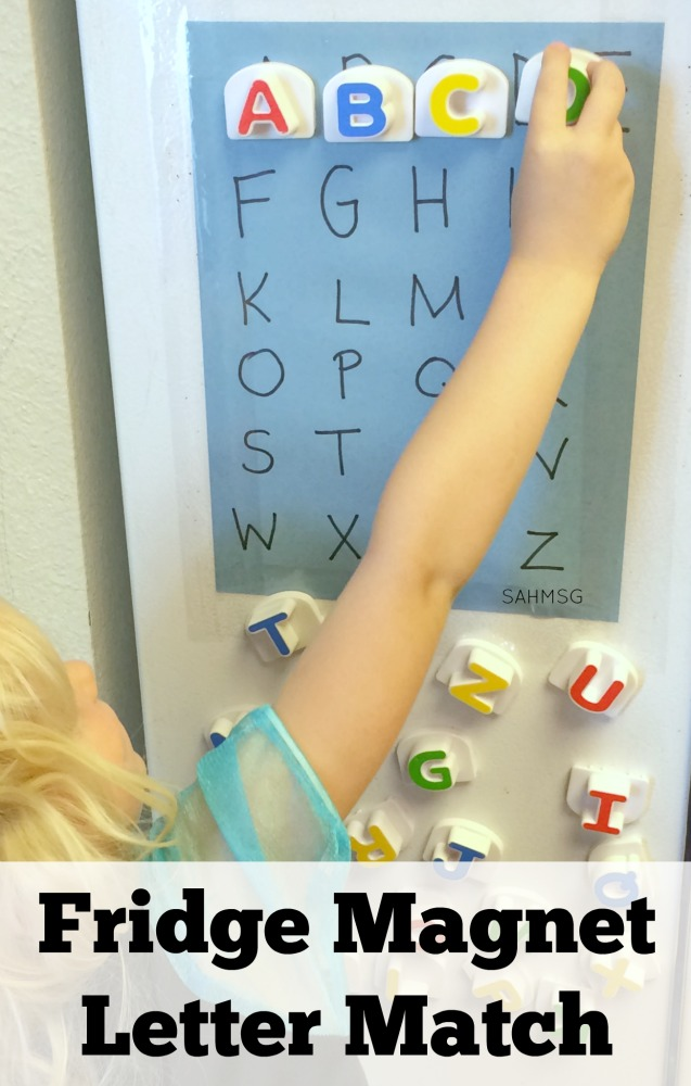 Preschool letter matching activity and no-stress assessment game. So simple to create-it takes about 5 minutes.