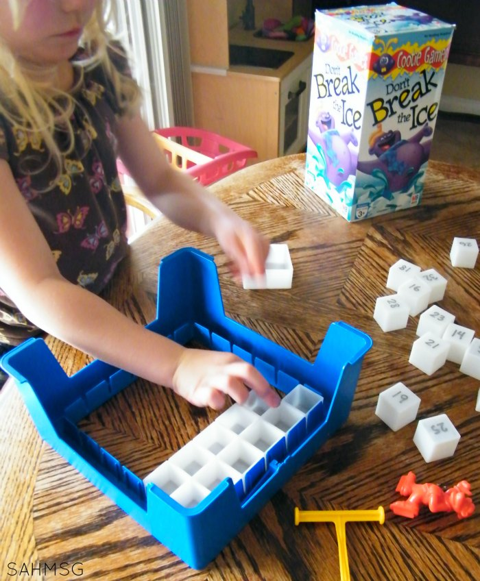 Turn your Don't Break the Ice game into a preschool activity for learning numbers. Toddlers can play with the added ideas.