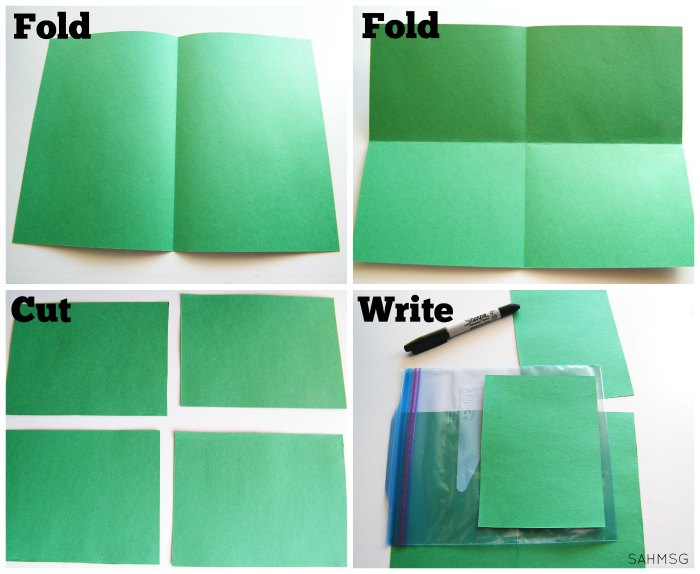 Steps to prepare a DIY book for babies and toddlers using ziploc bags and construction paper.