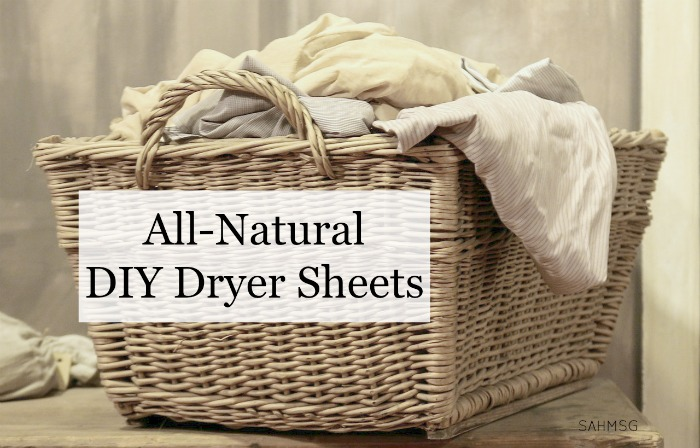 Make your own dryer sheets using an old t-shirt! All-natural DIY Dryer sheets eliminate harmful checmicals and are so easy to customize with great natural scents.