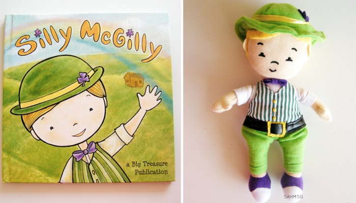 Silly McGilly book and toy set describes basic facts about St Patrick's Day and Ireland for kids.