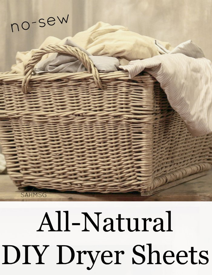 Make all-natural DIY dryer sheets to save money and eliminate harmful chemicals from your home. You can use an old t-shirt for this no-sew version.