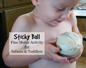 Sticky Ball Fine Motor Activity for Infants and Toddlers-takes 5 minutes to prep.