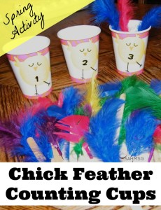 A preschool counting activity using chicks and feathers for a tactile and sensory counting activity for kids just in time for Spring!