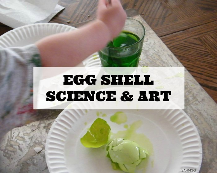 Dyed egg shells science and art process-based activity for preschool and toddlers.