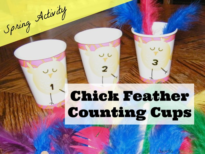 Easter and Spring themed preschool counting activity using supplies from the dollar aisle to create a simple learning activity for preschool kids to learn number order and counting skills.