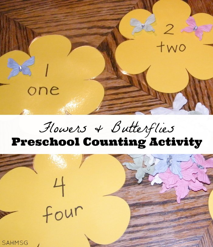 A fun Spring preschool activity for learning to count! Flowers and butterflies preschool counting activity that is so simple to create with some store-bought help.