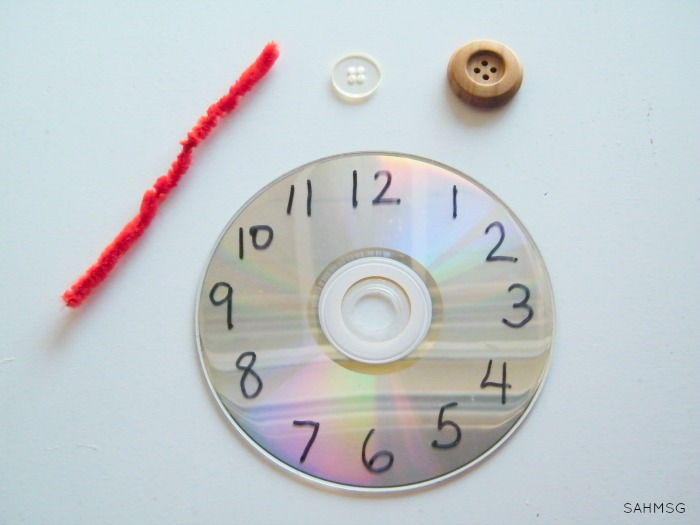 Create a clock toy out of a CD to give kids a hands-on way to practice telling time.